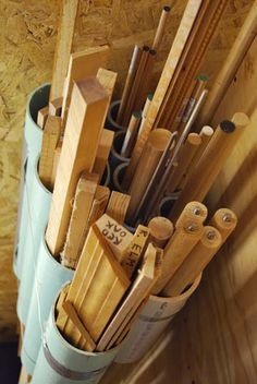 PVC pipe leftovers to store wood trim/dowel/pipe leftovers