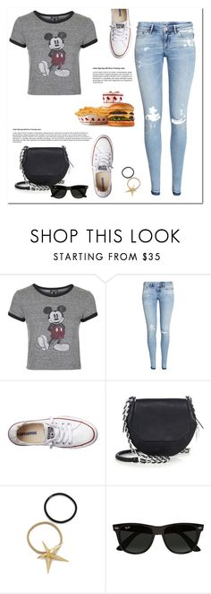 """""""Mickey Mouse Tee"""" by christinacastro830 ❤ liked on Polyvore featuring Topshop, H&M, Converse, rag & bone, Pluie, Ray-Ban, women's clothing, women's fashion, women and female"""