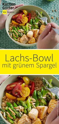 Salmon bowl with green asparagus- Lachs-Bowl mit grünem Spargel Green asparagus and tender salmon are a … - Crock Pot Recipes, Lunch Recipes, Casserole Recipes, Slow Cooker Recipes, Healthy Dinner Recipes, Chicken Recipes Dairy Free, Healthy Chicken Recipes, Salmon Recipes, Asparagus Recipe