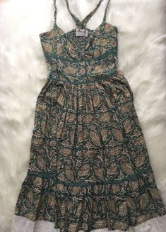 55b5d59394f3f Free-People-Size-10-Teal-Floral-Print-Sweetheart-