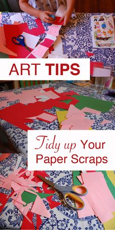 Art Tips: Does your child like to decimate beautiful rectangles of construction paper into oblivion? What do you do with all those paper scraps when the fun is done? Maybe you know this trick? It's so simple, I'm sure you do…