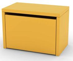 Flexa Play Opbevaringsbænk - gul - Opbevaringsbænk i gul med 3-i-én funktion. Opbevaring, bænk og sengebord i ét. Brug opbevaringsbænken i børneværelset, stuen eller i entréen. De bløde gummihjul beskytter gulvet og gør det nemt for selv de mindste børn at trække opbevaringsbænken rundt og rydde alt legetøj op i et par sekunder.