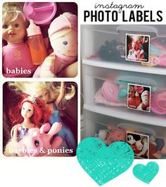 Use Photo Labels to show your child where things go.