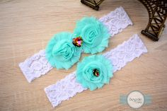 White Lace Wedding Garter with Baby Blue Flowers & Colorful Rhinestones by BespokeGarters by BespokeGarters on Etsy