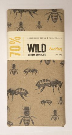 WILD Artisan Chocolate - Snacks & Desserts - Package Inspiration Nice raw style packaging for this organic chocolate - nice illustration too Organic Packaging, Honey Packaging, Vintage Packaging, Food Packaging Design, Chocolate Packaging, Paper Packaging, Pretty Packaging, Packaging Design Inspiration, Brand Packaging