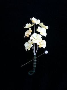 Variegated Pale Yellow Origami Blossoms Mens by TinyCranesBoutique, $20.00