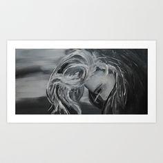 Black And White Girl Art Print by Nicholas Willms - $15.00