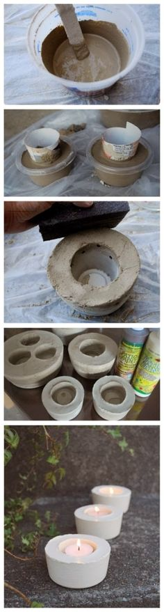 How To Make Cement Candle Holders by Hairstyle Tutorials