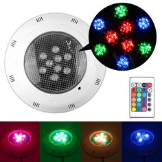 9W RGB LED Swimming Pool Underwater Light Fountain Spotlight Lamp with Remote Control AC 12V