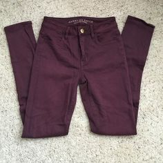 American Eagle High Rise Jegging in Burgundy These have been worn one time. Although the size is 0, I am more of a 2 or 4. These really do stretch. Super soft and super cute!!  American Eagle Outfitters Jeans Skinny