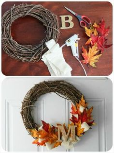 11 Cheap and Easy DIY Fall Decor Ideas that Will Save Your Money 11 billige und einfache DIY-H. Thanksgiving Wreaths, Diy Thanksgiving Decorations, Christmas Wreaths, Christmas Door, Diy Thanksgiving Crafts, Kids Thanksgiving, Autumn Decorations, Christmas Decorations, Dyi Fall Decor