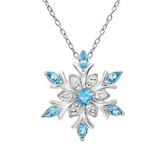 Sterling Silver Blue and White Crystal Snowflake Pendant-Necklace with Swarovski Elements