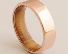 Copper Wedding Band // Copper Wood Ring // by dimaltagioielli