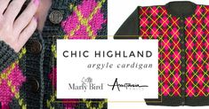 Perfect Argyle Knit Cardigan Pattern || Chic Highland Argyle Cardigan - Marly Bird Knitting Patterns Free, Free Knitting, The Argyle, Knit Cardigan Pattern, Bind Off, Stockinette, To Loose, Buttonholes, Stitch