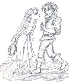 Rapunzel and Flynn Sketch by lauren-draghetti.deviantart.com on @deviantART
