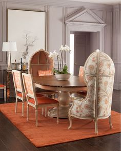 Massoud Tabitha Round Dining Table, Butterfly Dining Chair,  Summer Garden Balloon Chair