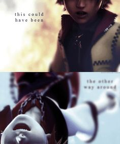"""Sora: """"C'mon, say something!"""" Roxas: """"This could've been the other way around."""" 