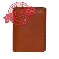 American Bison Trifold Wallet - Tan