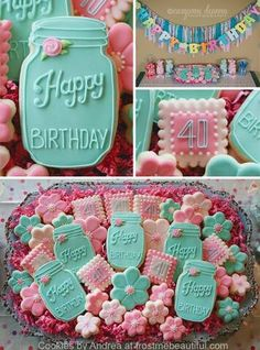 Love these mason jar cookies! Fancy Cookies, Iced Cookies, Cute Cookies, Royal Icing Cookies, Cookies Et Biscuits, Cupcake Cookies, Sugar Cookies, Unicorn Cookies, Cookies Decorados