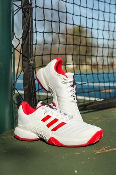 Now in white and scarlet the adidas Barricade 2018 women s tennis shoe  e4370f2d2