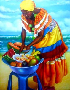Diamond Painting Beach Fruit African Woman Paint with Diamonds Art Crystal Craft Decor Cuban Art, Mexican Art, Black Women Art, Black Art, Arte Latina, Afrique Art, Latino Art, Urbane Kunst, Haitian Art