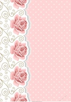 Blank card front / topper - flourish, Pink Roses & Polka - CraftsuPrint