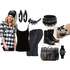 Studded Plaid Casual Punk Rock Outfitscool