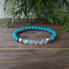 Matte Aura Quartz x Magnesite x Silver Hematite by EssennzDesigns on Etsy Crystal Meanings, Bracelet Making, Iridescent, The Help, Turquoise Bracelet, Quartz, Rose Gold, Gemstones, Crystals