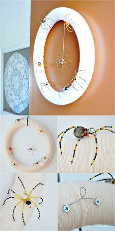 How to make a Halloween wreath using a pool noodle, yarn, and DIY beaded spiders!  DIY Yarn wrapped wreath.  DIY spider wreath for Halloween.