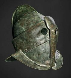 Helmet of a secutor (a kind of gladiator) found in the ludus gladiatorius, the gladiator barracks in Pompeii. The helmet has been designed to fight a retiarius.
