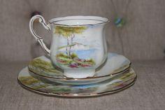 Paragon Tea Cup & Saucer 3 Piece Set Cliffs of Dover England China