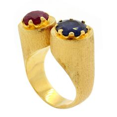 1960 Ceylon Sapphire Burma Ruby Gold Ring | From a unique collection of vintage fashion rings at https://www.1stdibs.com/jewelry/rings/fashion-rings/