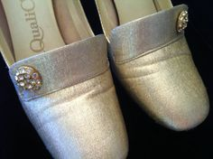 Vintage Silver Lame Shoes with Rhinestone Buttons by JaybirdFinds.  SOLD