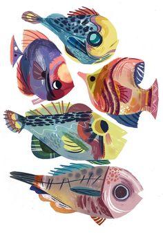 Fish Drawings, Animal Drawings, Art Drawings, Animal Art Prints, Drawing Sketches, Fish Illustration, Illustrations, Fish Artwork, Guache