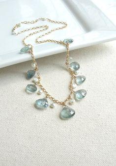 Moss Aquamarine Necklace  March Birthstone Gold by BlueRoomGems, $158.00