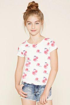 Girls Floral Print Tee (Kids) #f21kids
