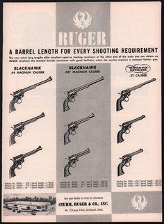 1959 RUGER Blackhawk .44 & .357 Magnum & Single-Six .22 Revolver AD all lengths