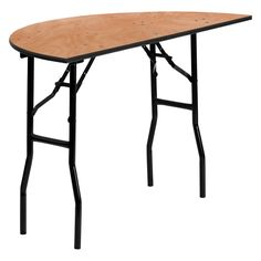 Flash Furniture YT-WHRFT48 48 in. Half-Round Wood Folding Banquet Table - YT-WHRFT48-HF-GG