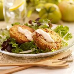 Two Southern classics, fried green tomatoes and buttermilk dressing, come together to make this salad, perfect for summer dinner parties.