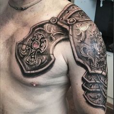 Armor Tattoo by @braddoulttattooartist #armortattoo #armor #braddoulttattooartist