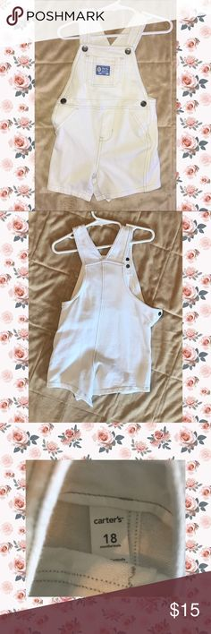 """Carters """"Deep Sea"""" White overall shorts. NWOT These don't have a tag but we never wore them. They got pushed to the back of the closet and forgot until outgrown.  In EUC, perfect condition actually. Super cute for this summer. Great for pictures.  🚫Rips 🚫Stains 🚫Fading 🐾🆓  NWOT Carter's Bottoms Overalls"""