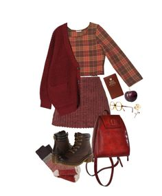 """red"" by paper-freckles ❤ liked on Polyvore featuring Isa Arfen, Kate Spade and Dr. Martens"