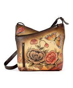 Loving this Brown Slim-Compartment Hand-Painted Leather Shoulder Bag on #zulily! #zulilyfinds