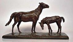 Vente le dimanche 8 juin par Joigny enchères à Joigny - Evgeni LANCERAY (1848-1886) Cheval du Causaque et son poulain. Epreuve en bronze à patine brune, fonte ancienne. usures de patine H: 27cm L: 47.5cm Signé sur la terrasse. Estimée 3 000 - 4 000 €