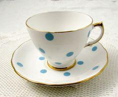 Royal Vale Blue Polka Dot Tea Cup and Saucer, Vintage Bone China