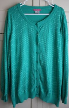 44bc0d12b17 Woman Within Green with White Polka Dot Rockabilly Cardigan Size 4X   WomanWithin  Cardigan Woman