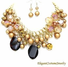Gold Sheer Pearl Sheer Chunky Necklace Set Elegant Jewelry