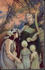 Dagda No folclore irlandês, o Dagda era chamado de O Bom Deus, Grande Senhor, Pai dos deuses e dos homens, o Arquidruida, deus da magia, da terra. Rei supremo dos Tuatha de Dannan, mestre de todos os ofícios, senhor de todos os conhecimentos. Teve vários filhos, entre eles Brigit, Angus, Midir, Ogma e Bodb, o Vermelho. O Dagda tinha uma harpa de carvalho vivo que fazia com que as estações mudassem quando assim o ordenasse. Deus dos magos e sacerdotes, senhor dos artesãos, da música e das…