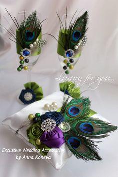 Подушка обручальное кольцо Peacock - Свадьба - кольцо предъявителя подушку - Кольцо подушки - Свадебные аксессуары - Павлин Свадьба - Свадьба в павлина стиль