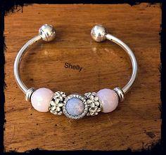 Pandora Jewelry OFF!> Pandora Open Bangle Bracelet with Opalescent Pink Petites and Opalescent Radiant Hearts. Pandora Open Bangle, Pandora Bracelet Pink, Pandora Rings, Pandora Jewelry, Pandora Charms, Ear Jewelry, Cute Jewelry, Jewellery, Diy Leather Bracelet